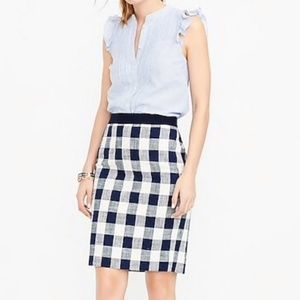 J.Crew The Pencil Skirt Tweed Gingham Size 0